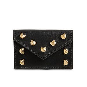 Black Gold Moschino Teddy Stud Leather Mini Wallet